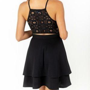 Francesca's Black Tiered Lace Open Back Dress
